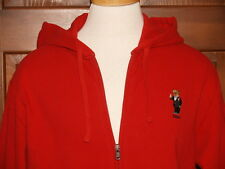 Polo Ralph Lauren Polo Bear Hoodie Ziip Sweatshirt Fleece Red  L XL XXL NWT