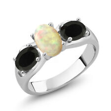 1.29 Ct Oval Cabochon White Ethiopian Opal Black Onyx 18K White Gold Ring