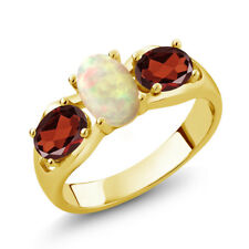 1.51 Ct Oval Cabochon White Ethiopian Opal Red Garnet 14K Yellow Gold Ring