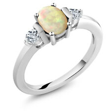 0.79 Ct Oval Cabochon White Ethiopian Opal White Topaz 925 Sterling Silver Ring
