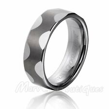 7.5mm Tungsten Carbide with Multi Facet Prism Cut Brushed Wedding Band Ring