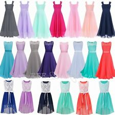 Sweet Flower Girls Chiffon Dress Lace Sleeveless Wedding Party Dresses Size 4-14