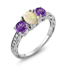 1.53 Ct Oval Cabochon White Ethiopian Opal Purple Amethyst 18K White Gold Ring