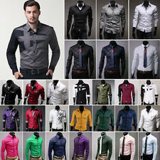 Mens Fashion Luxury Long Sleeve Shirt Casual Slim Fit Stylish Dress Shirts Tops