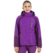 Women's 3 in 1 Waterproof Camping Hiking Jacket Hooded Fleece Lined Outdoor Coat