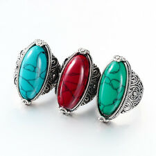 Size 7-10 Vintage Oval Red/Green/Blue Turquoise Ring Tibet Tribe Silver Jewelry