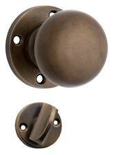 Antique Brass Plain Privacy Mortice Knob - Will Suit 54mm Pre-Drilled Hole (Pair