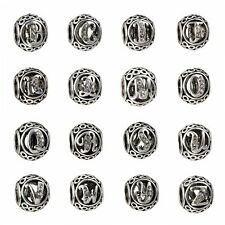 26 Letters Silver CZ Charms Loose Round Beads Fit Bracelet Bangles Chain Jewelry