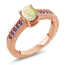0.71 Ct Oval Cabochon White Ethiopian Opal Purple Amethyst 18K Rose Gold Ring