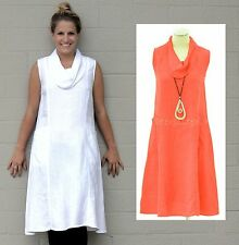 MOSAIC USA 610  Linen  COWL NECK FAVORITE FROCK  Pocket Dress  S M L XL  CORAL