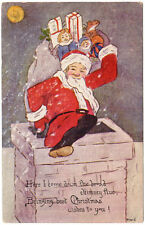 Christmas Postcard Santa Claus Going Down a Chimney Bag Full of Toys~89194