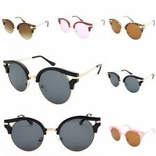 Quality Round Lens Cat Eye Sunglasses 50mm Style VTG Retro Half Rim Women's