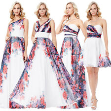 Floral Chiffon Formal Wedding Evening Party Ball Gown Prom Bridesmaid Dress 6-18
