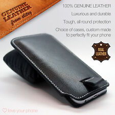 Black Genuine Real Leather Pull Tab Slide In Pouch Case Cover Sleeve Holster