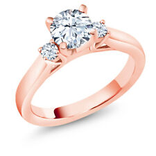 1.46 Ct Hearts And Arrows White Created Sapphire 18K Rose Gold 3-Stone Ring