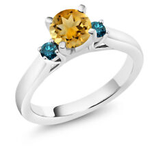 0.90 Ct Round Yellow Citrine Blue Diamond 925 Sterling Silver 3-Stone Ring