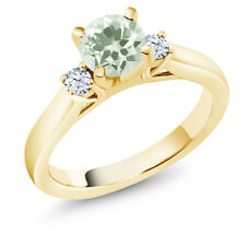 1.17 Ct Round Green Amethyst 18K Yellow Gold Plated Silver 3-Stone Ring