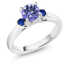 1.26Ct Blue Mystic Topaz Blue Simulated Sapphire 925 Sterling Silver 3Stone Ring