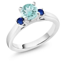 1.16 Ct Round Sky Blue Topaz Blue Simulated Sapphire 18K White Gold 3-Stone Ring