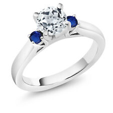 1.16 Ct White Topaz Blue Simulated Sapphire 925 Sterling Silver 3-Stone Ring