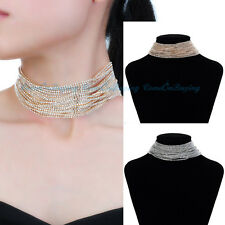 Fashion Gold Silver Crystal  Chains Punk Choker Collar Statement Bib Necklace