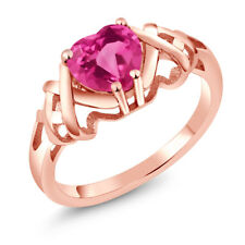 1.30 Ct Heart Shape Pink Mystic Topaz 18K Rose Gold Plated Silver Ring
