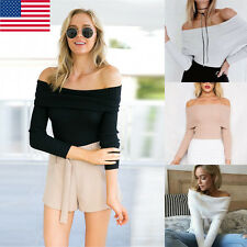 Women Off Shoulder Lady Hot Sexy Long Sleeve knitting T-Shirt Casual Blouse Tops