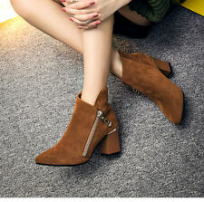 Winter Boots Women High Chunky Heels Ankle Boots Pointy Toe Martin Booties Shoes
