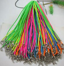 10/30 Fluorescent color fashion Braid Leather Cord Necklace Lobster Clasp Chain