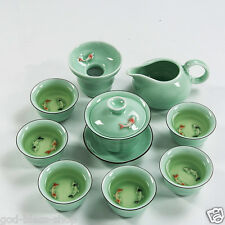Double fishes porcelain tea set celadon ceramic tea pot gaiwan tea cups pitcher