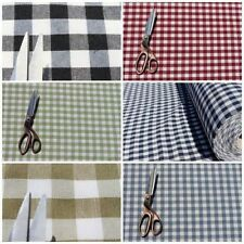 VINTAGE SHABBY HEAVY COTTON GINGHAM UPHOLSTERY KITCHEN CUSHION CURTAIN FABRIC