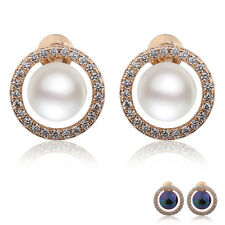 Gracious lady jewelry 18k gold filled charms pearl White topaz stud earring