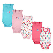 Luvable Friends Girls 5 Pack Pink/Blue Sleeveless Bodysuits with Seahorse &
