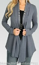 Gray Long Sleeve Shrug/Cover-Up Drape Scarf Tunic Cardigan