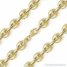 Sterling Silver w/ 14k Yellow Gold 8mm Rounded Puffed Marina Link Chain Bracelet