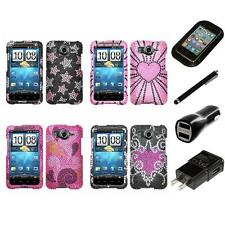 For HTC Inspire 4G Diamond Diamante Bling Rhinestone Case Cover Charger Stylus