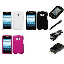 For LG Optimus Elite LS696 Rigid Plastic Hard Snap-On Case Cover Charger Stylus