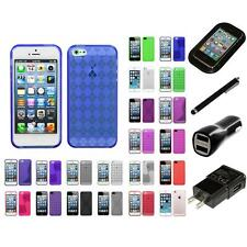 For Apple iPhone 5/5S/SE TPU Rubber Skin Flexible Case Phone Cover Charger