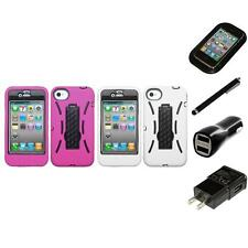 For Apple iPhone 4/4S Kickstand Case Heavy Duty Hard Soft Case Cover Charger