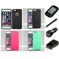 For Apple iPhone 6/6S Plus [5.5] Hybrid 2-Piece Hard Soft Case Skin Charger