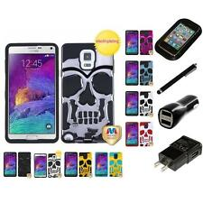 For Samsung Galaxy Note 4 Hybrid Skull Skeleton Impact Hard Soft Case Charger