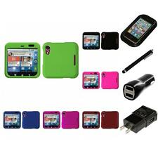 For Motorola Flipout MB511 Rigid Plastic Hard Snap-On Case Cover Charger Stylus