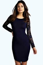 Boohoo Womens Susie Lace Sleeve Bodycon Dress