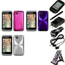 For HTC Rhyme / Bliss Aluminum Armor Cosmo Slim Hard Case Phone Cover Bundle
