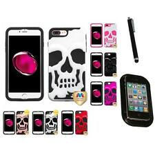 For iPhone 7 Plus [5.5] Hybrid Skull Skeleton Impact Hard Soft Case Mount+Pen