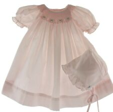 Preemie Girls Pink Smocked Bishop Dress & Bonnet Set Petit Ami