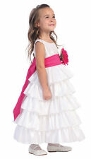Toddlers Girls 3T White Taffeta Full Length Dress Flower Girl U CHOOSE Sash