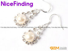 Fashion Hook Dangle Rhinestone Pearl Earrings For Women Gold Plated Jewelry Gift