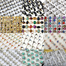 NT 10/20Pcs Lots Wholesale Jewelery Bulks Mixed Silver Gold Plated Crystal Rings