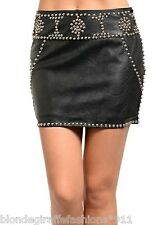 Black Pleather Faux Leather Beaded Rhinestone Studs Mini Skirt